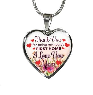 Express Your Love Gifts Thank You for Being My Heart's First Home, I Love You Mom- Handmade Stainless Steel Silver-Tone and 18k Gold Finish Heart Pendant