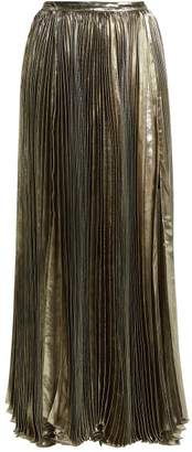 Maria Lucia Hohan Sada Pleated Silk Blend Maxi Skirt - Womens - Silver