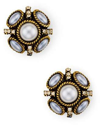 Oscar de la Renta Button Stud Earrings