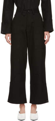 Markoo Black The High-Waisted Wide-Leg Cargo Pant Jeans