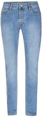 Topman Vintage Wash Blue Stretch Slim Jeans