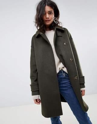 Asos Design DESIGN coat in twill with buckle neck