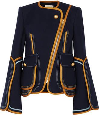Peter Pilotto Grosgrain-trimmed Cotton-blend Jacket - Navy