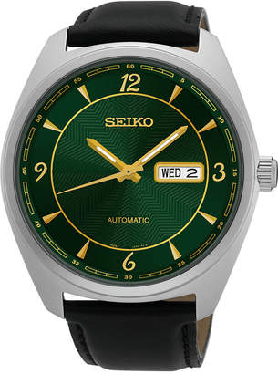 Seiko Men's Automatic Recraft Series Black Leather Strap Watch 45mm SNKN69 $250 thestylecure.com
