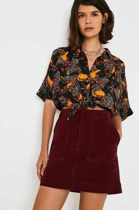 BDG Wine Corduroy Carpenter Skirt
