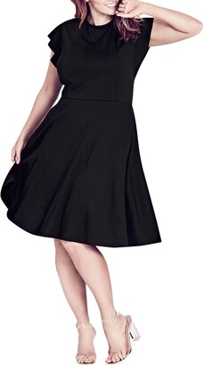 City Chic Frill Sleeve Fit & Flare Dress
