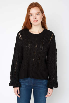 Neely Billow Sleeve All Over Cable Knit Pullover Black XS