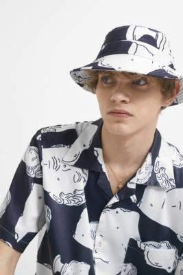 Band Of Outsiders Marble Navy Tencel Hawaiian Bucket Hat