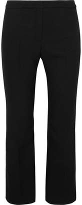 Alexander McQueen Cropped Satin-trimmed Wool-blend Straight-leg Pants