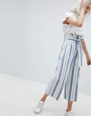 Pull&Bear Paper Bag Waist Linen Wide Leg Pants