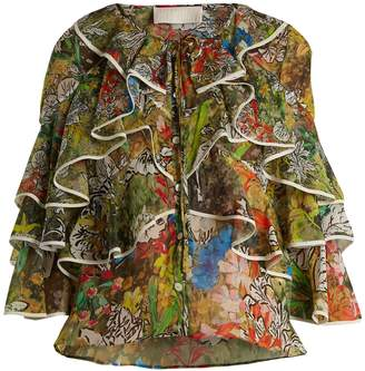 Peter Pilotto Fluted-panel floral-print silk-georgette blouse