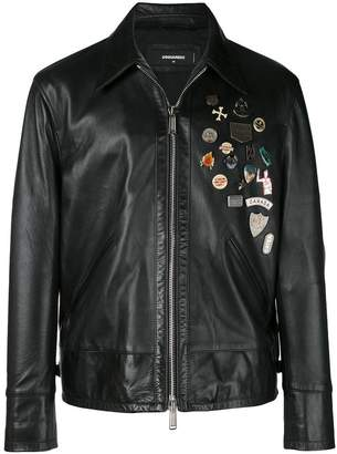 DSQUARED2 embellished leather jacket