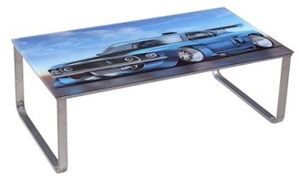 US Pride Furniture Car Scenery Tempered Glass Coffee Table