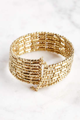 South Moon Under Gold Beaded Stretch Cuff Bracelet