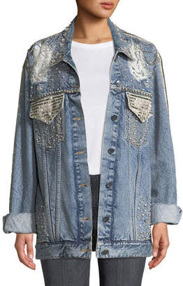 Alice + Olivia JEANS Oversized Embellished Denim Jacket