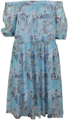 Blugirl Beach Print Off Shoulder Dress