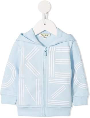 Kenzo logo print zipped hoodie