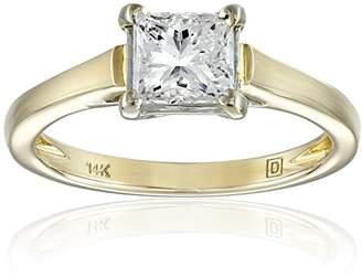 IGI Certified 14k Yellow Gold Classic 4-Prong Princess-Cut Diamond Solitaire Engagement Ring (1 carat