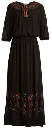 The Great - The Promenade Embroidered Cotton Maxi Dress - Womens - Black Multi
