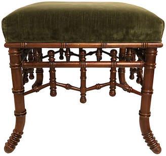 One Kings Lane Vintage Hickory Furniture Faux-Bamboo Ottoman - Von Meyer Ltd.