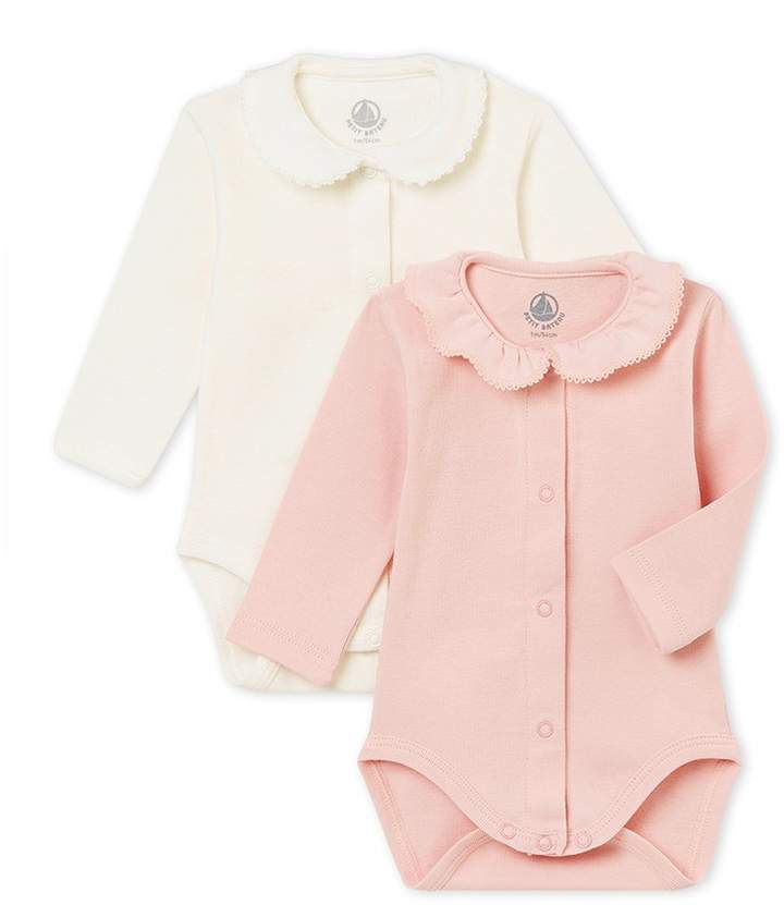 Petit Bateau SET OF 2 BABY GIRL'S ONESIES WITH COLLAR