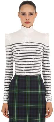 Sequined Turtleneck Striped Top