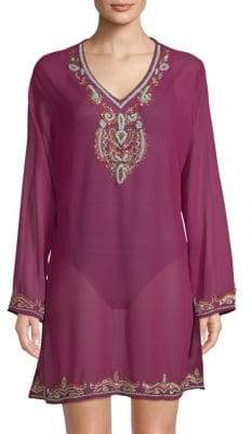 Embellished Long-Sleeve Coverup