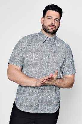 boohoo Big And Tall Leaf Print Short Sleeve Shirt