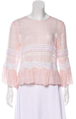 Jonathan Simkhai Embroidered Long Sleeve Blouse