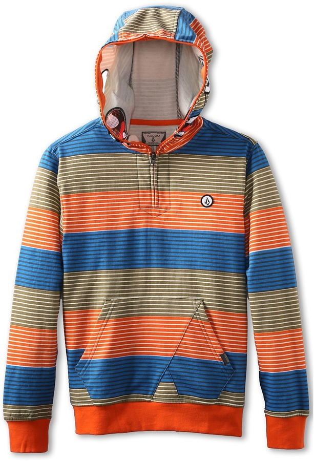 Volcom Easy Going Half Zip Fleece (Little Kids/Big Kids) (Electric Orange) - Apparel