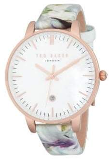Ted Baker Round Stainless Steel Leather-Strap Watch
