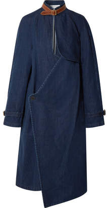 J.W.Anderson Leather-trimmed Cotton And Linen-blend Denim Coat