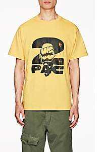 Tupac by 424 Men's Fist-Print Cotton Short-Sleeve T-Shirt-Yellow