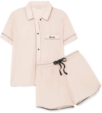 Morgan Lane Bride Embroidered Cotton-gauze Pajama Set