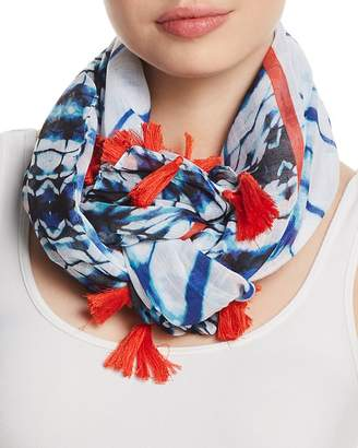 Fraas Shibori Tasseled Oblong Scarf