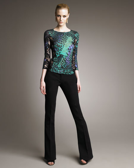 Emilio Pucci Mixed-Print Lace-Panel Tee & Double-Face Boot-Cut Pants