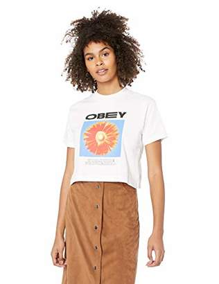 Obey Junior's Flower Power Mock Neck Cropped TEE