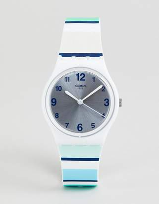 Swatch GW189 Mediterranean Views Stripe Silicone Watch 34mm