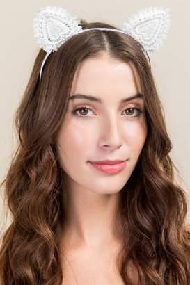 francesca's Gwendolyn Lace Cat Ear Headband - White