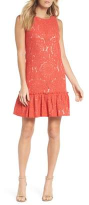 Eliza J Ruffle Hem Lace Shift Dress