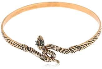 Alcozer & J Snake Emerald Bangle Bracelet