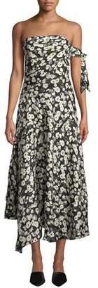 Derek Lam Strapless Poppy-Print Asymmetrical Midi Dress w/ Handkerchief Hem