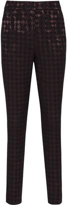 Reiss Laura - Houndstooth Check Trousers in Black/burgundy
