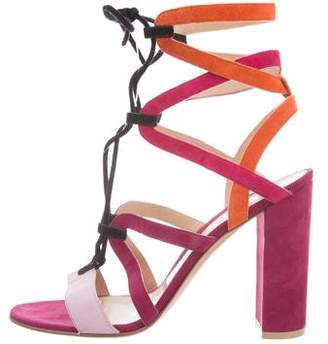 Mary Katrantzou x Gianvito Rossi Lace-Up Cage Sandals