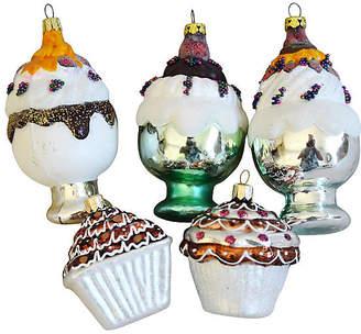 One Kings Lane Vintage Fancy Glitter Christmas Ornaments Set of 5