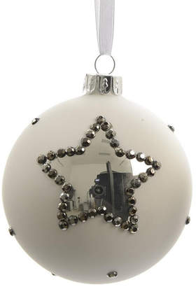 Asstd National Brand Set of 3 Winter Light White with Silver Stars Glass Christmas Ball Ornaments 3 (80mm)