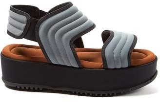 Marni Waved-stitch neoprene flatform sandals