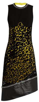 Mugler - Leopard Print Tulle And Crepe Dress - Womens - Yellow Multi