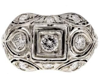 18K White Gold Diamond Dome Ring Size 6.5