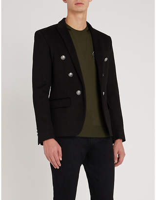 Balmain Slim-fit double-breasted cotton jacket